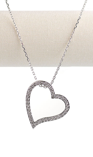 Swarovski Rhodium and Crystal Pave Open Heart Pendant Necklace