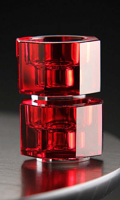 Orrefors Totem Tranquility Candlestick Red, Pair