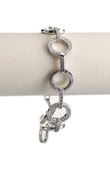 Swarovski Rhodium and Crystal Pave Circles Bracelet