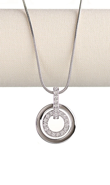 Swarovski Rhodium And Crystal Circle Pendant Necklace