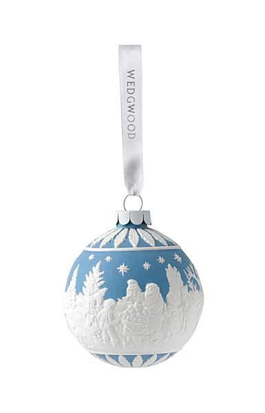Wedgwood Visiting Santa Blue Ornament