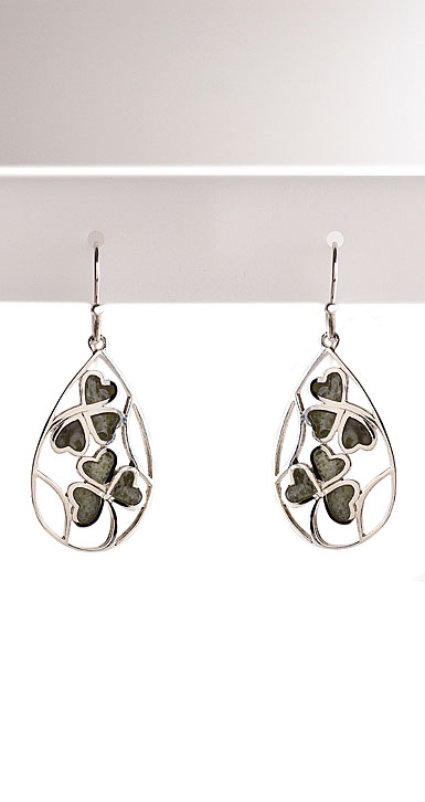 Cashs Sterling Silver and Connemara Marble Lucky Shamrocks Earrings Pair