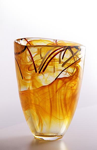 Kosta Boda Contrast Vase, Orange, 7 7/8in H