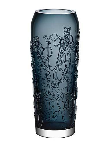 """Kosta Boda Twine 11 3/4"""" Grey Vase"""