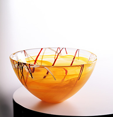 Kosta Boda Contrast Medium Bowl, Orange, 9in