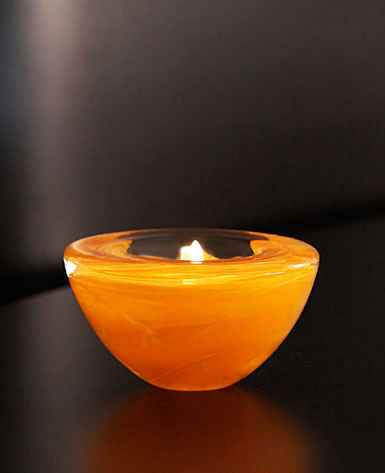 Kosta Boda Atoll Votive Orange