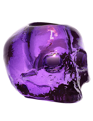 Kosta Boda Still Life Skull Votive, Purple