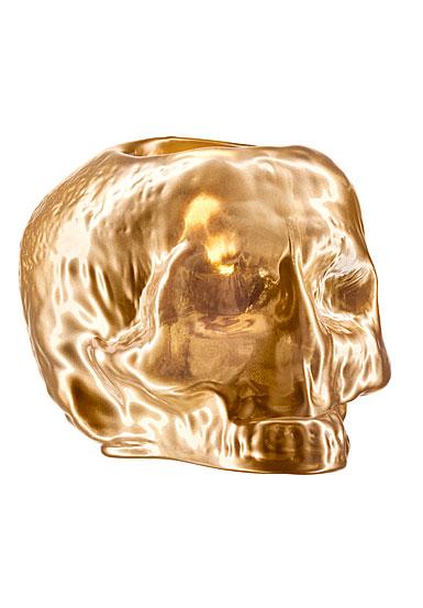 Kosta Boda Still Life Skull Votive, Gold