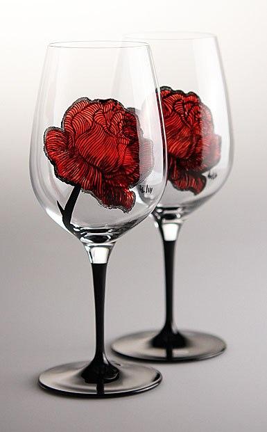 Kosta Boda Tattoo Wine Glasses