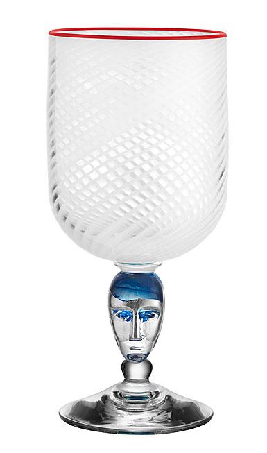 Kosta Boda Red Rim Brains White Footed Vase