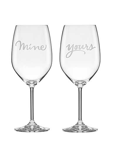 Lenox kate spade Two of a Kind Yours and Mine Wine Glasses, Set of 2