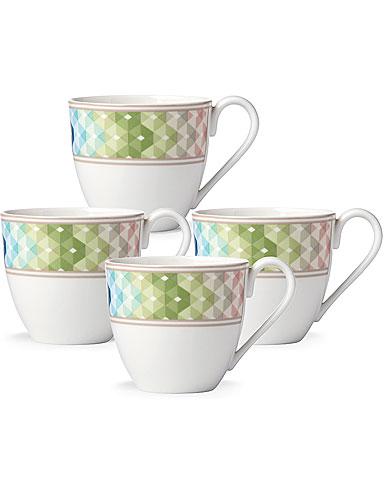 Lenox China Entertain 365 Sculpture Green and Blue Dessert Mugs, Set of 4