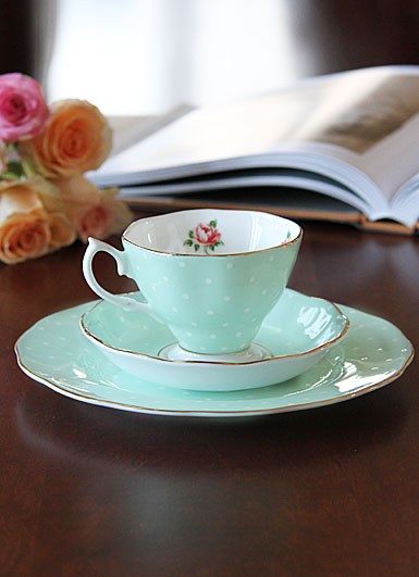 Royal Albert China Polka Rose 3 Piece Set Teacup Saucer