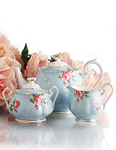 Royal Albert New Country Roses Polka Blue 3 Piece Teaset