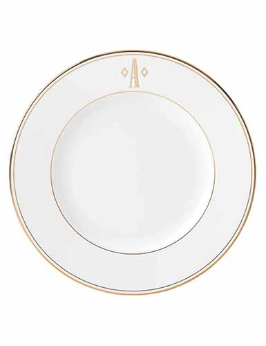 Lenox China Federal Gold Monogram Block Dinner Plate A