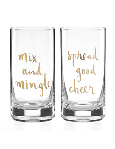 Lenox Kate Spade Sparkle and Shine Mix Mingle and Spread Cheer HiBall, Pair