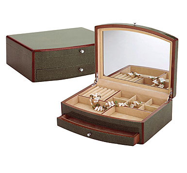 Reed and Barton Jade Jewelry Chest, Shagreen/Cream