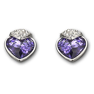Swarovski Rhodium and Tanzanite Oceanic Pierced Earrings
