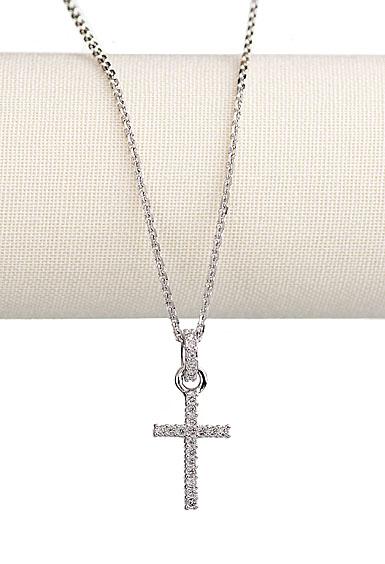 Swarovski Rhodium and Crystal Pave Cross Pendant Necklace