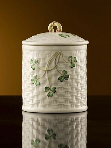 Belleek China Shamrock Jar 1937 - 1947, Limited Edition of 1,200