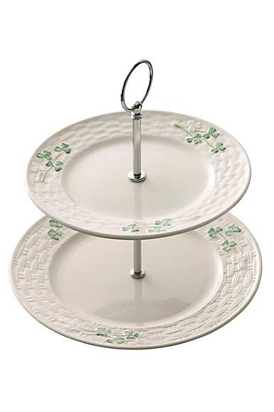 Belleek China Shamrock Tiered Server