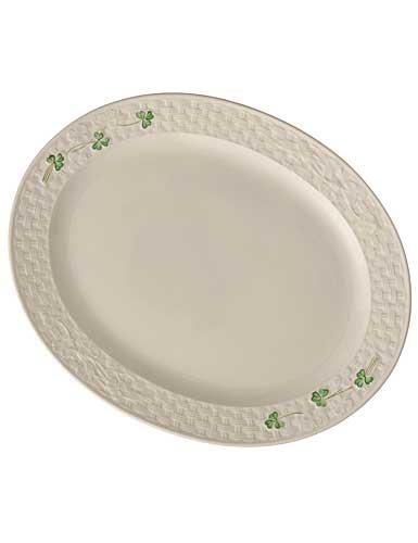 Belleek China Shamrock Large Oval Platter