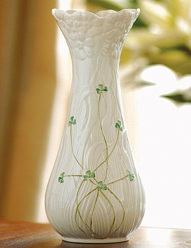 Belleek Shamrock Daisy Tall Vase