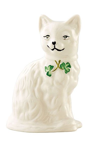 Belleek China Quizzical Cat Figurine