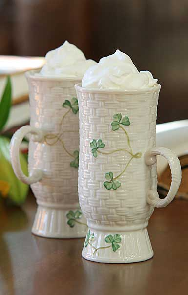 Belleek China Irish Coffee Mugs, Pair