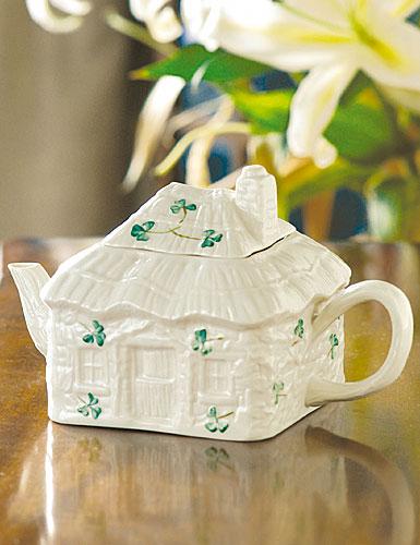 Belleek China Irish Cottage Teapot