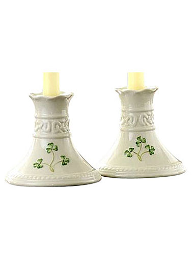 Belleek China Tara 4in Candlesticks Pair