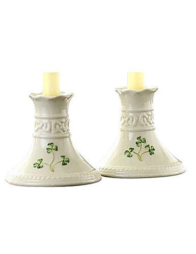 Belleek China Tara 4in Candlesticks Pair