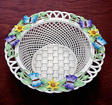 Belleek China Butterfly Meadow Basket
