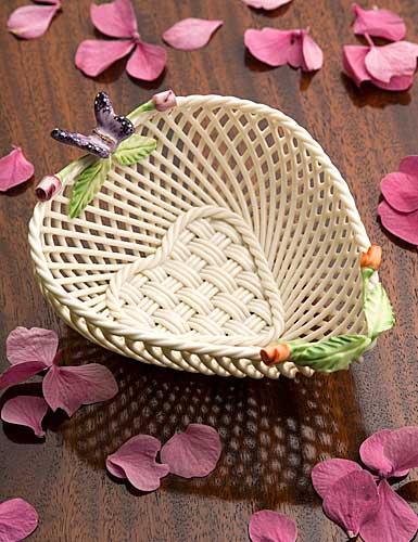 Belleek China Rose Bud Heart Basket