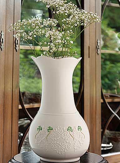 """Belleek China Shamrock Lace 10"""" Vase"""