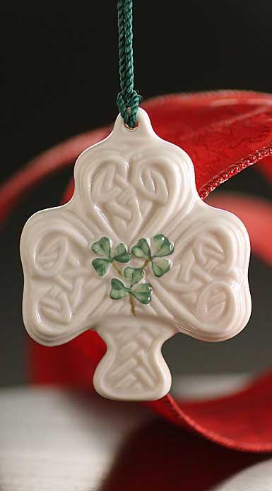 Belleek China Shamrock Puff Ornament