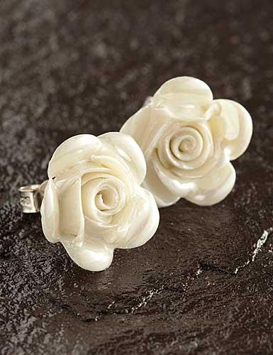 Belleek China Rose Pierced Earrings