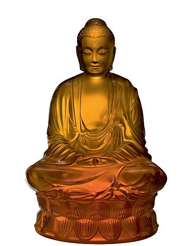Lalique Large Buddha Figurine, Amber