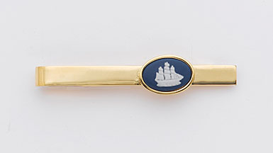 Wedgwood Pale Blue Oval Gold Tie Slide, Ship