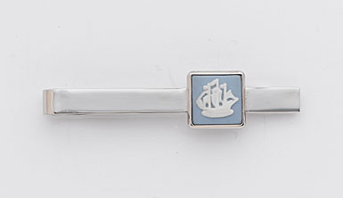 Wedgwood Pale Blue Square Tie Slide, Ship