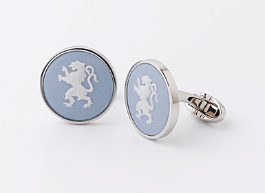 Wedgwood Pale Blue Round Cufflinks, Silver Rampant Lion