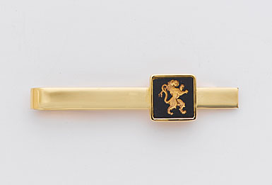 Wedgwood Black Square Gold Tie Slide, Rampant Lion