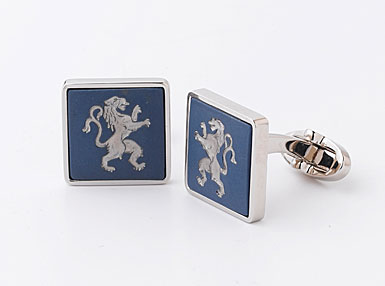 Wedgwood Saxon Blue Square Cufflinks, Rampant Lion