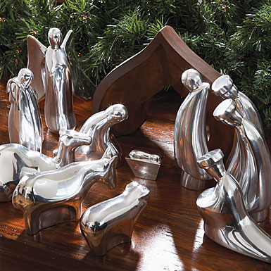 Nambe Christmas Nativity Shepherd and Animals, 4 Piece Set