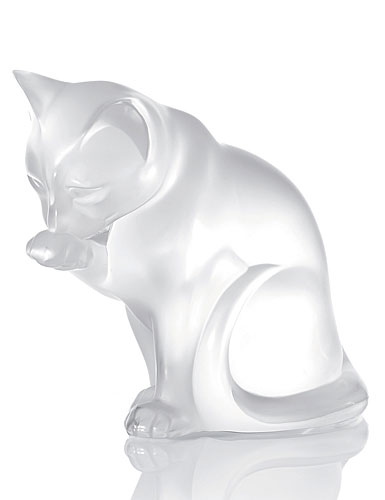 Lalique Figure Grooming Cat