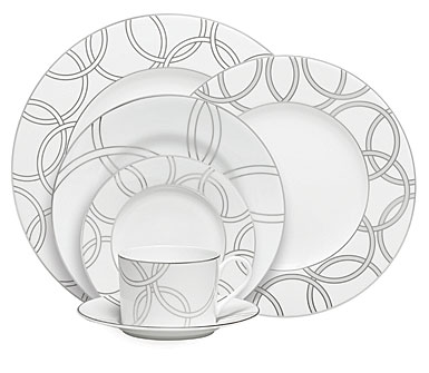 Waterford China Harcourt Platinum, 5 Piece Place Setting