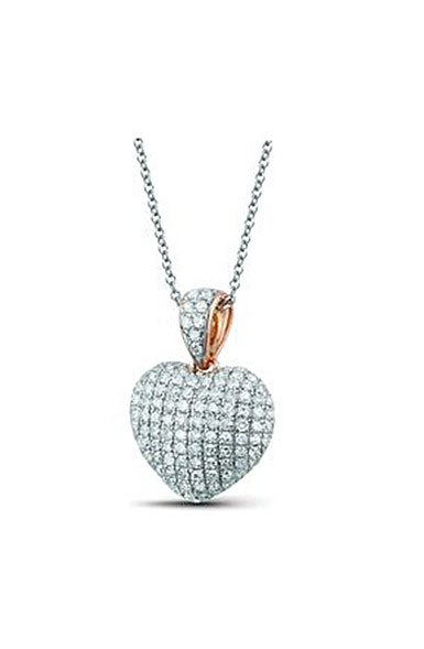 Cashs Crystal Sterling Silver Rose Gold Heart Pendant