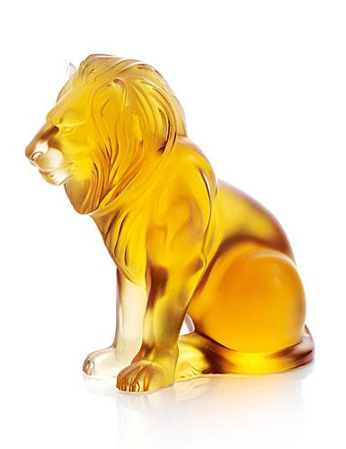 Lalique Amber Bamara Lion Figure