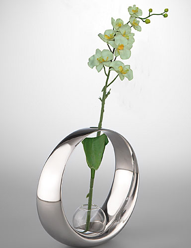 Nambe Metal Globe Bud Vase with Silk Orchid, 5in H