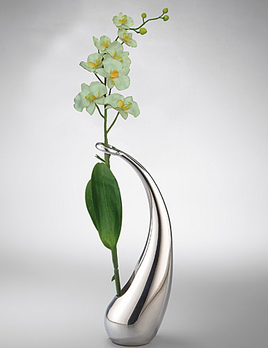 Nambe Metal Elbow Bud Vase,with Silk Orchid - Small, 8in H